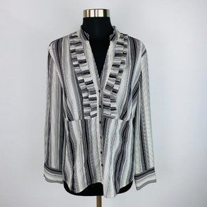 Covington Pleated Front Striped Button Down Shirt